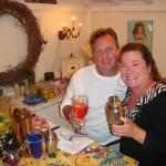 Blake and Geri enjoying Blake's garden cocktail infusions at an event at Elegance Spa in Manhattan Beach